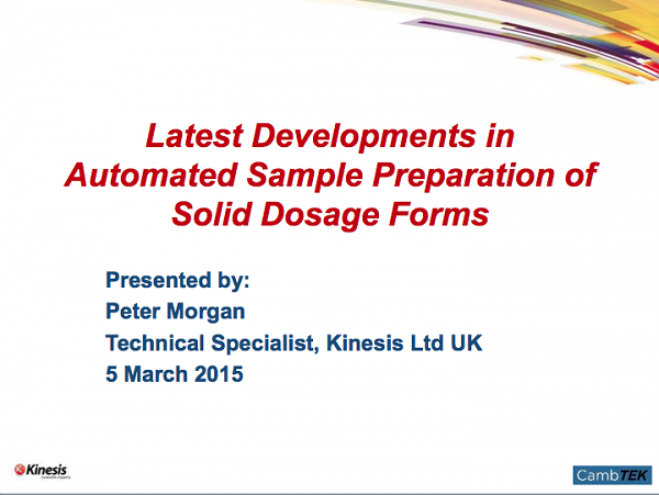 Webinar - Latest Developments in Automated Sample Preparation of Solid Dosage Forms